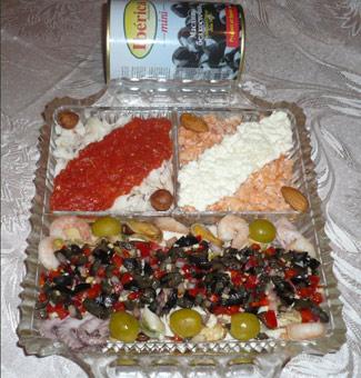 Рецепт Закуска Испанское трио (сальпикон из морепродуктов и эскабече из белой и красной рыбы)