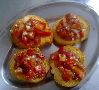 Рецепт Закуска Сухари с помидорами