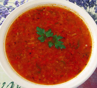 Рецепт Томатный суп с венгерским перцем и рисом