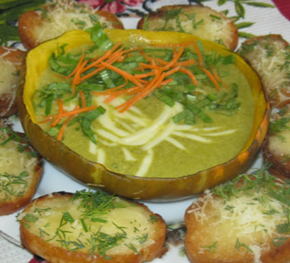 Рецепт Тыквенный суп-пюре со щавелем