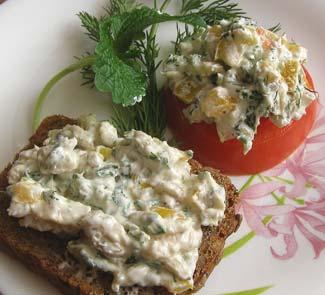 Рецепт Закуска из баклажана и болгарского перца с сыром фета и мятой