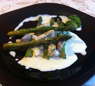 Рецепт Спаржа под сливочно-грибным соусом