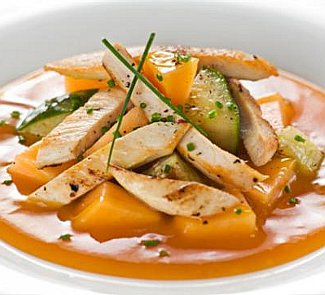 Рецепт Салат из курицы с дыней