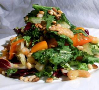 Рецепт Салат с креветками, хурмой и кедровыми орехами