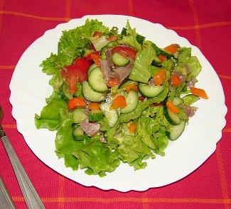 Рецепт Салат из свежих овощей с мясом