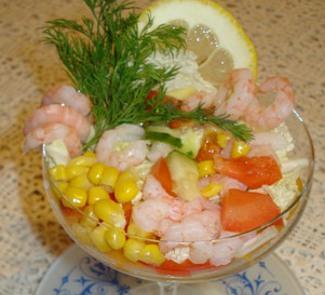Рецепт Салат-коктейль с креветками и авокадо