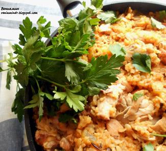Рецепт Джамбалайя с бурым рисом и копченой курицей