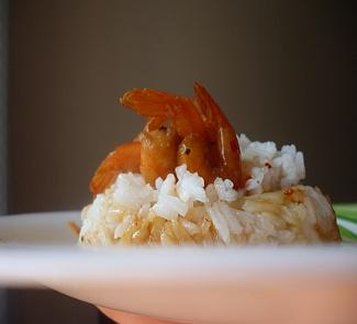 Рецепт Рис с креветками, мятой, сладким чили