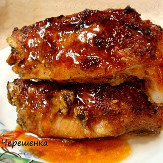 Рецепт Свиные ребрышки в чесночно-луковом маринаде с карамельным соусом