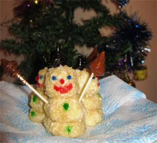 Рецепт Творожные снеговики с карамелью