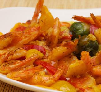 Рецепт Креветки с овощами в кляре