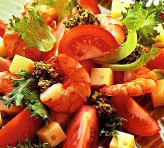 Рецепт Салат из креветок и помидоров