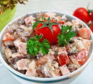 рецепт салат курица копченая шампиньоны сыр