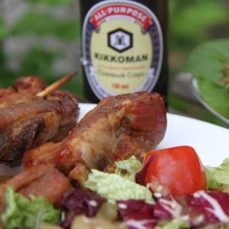 Рецепт Свиные ребра-гриль с салатом из запеченных баклажанов