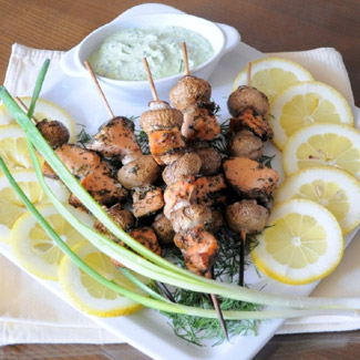 Шашлычки из грибов и рыбы