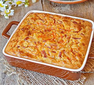 Рецепт Клафути из молодой капусты, паприки и бекона