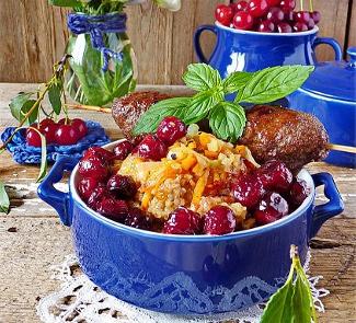 Рецепт Халим с люля-кебабом из баранины, бататом и вишней