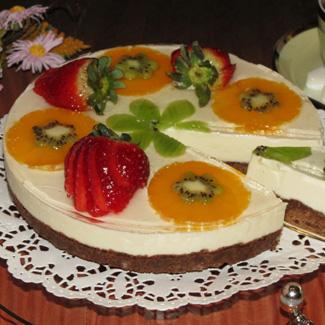 Рецепт Чизкейк без выпечки с сыром Маскарпоне, клубникой и фруктами