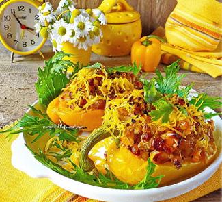 Рецепт Запеченные перцы с полбой, индейкой и чоризо