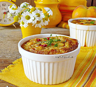 Рецепт Сlafoutis с персиком и копчёным адыгейским сыром