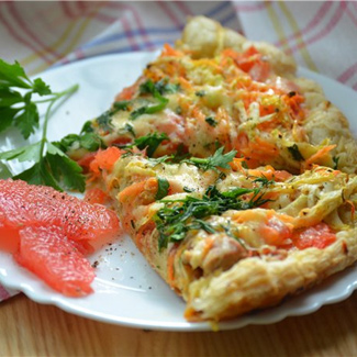 Пицца с курицей и грейпфрутом