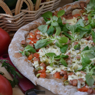 Рецепт Овощная пицца с ветчиной