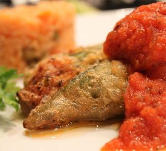 Рецепт Чили поблано, фаршированный креветками и сыром