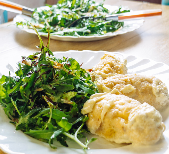 Рецепт Рыбные кнели, припущенные в сливках и оливковом масле