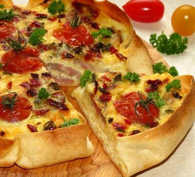 Рецепт Ленивый киш с кабачком и свиной шейкой