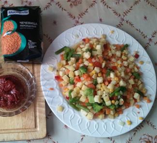 Рецепт Суп-пюре с чечевицей и томатным соусом за 15 минут