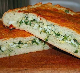 Рецепт Пирог с яйцом и зеленым луком