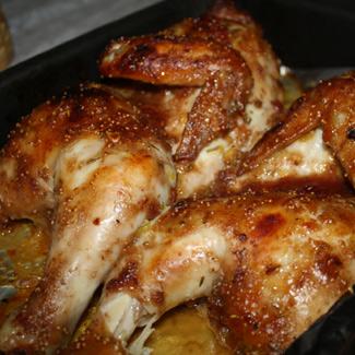 Рецепт Курица в инжирной корочке с пряным рисом